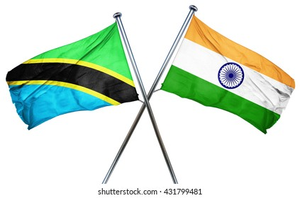Tanzanian flag with India flag, 3D rendering