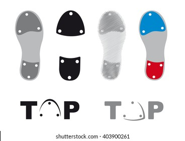 Tap dance shoes. Icons tap shoes. Sole tap shoes. Set dancing shoes on a white background. Bitmap graphic