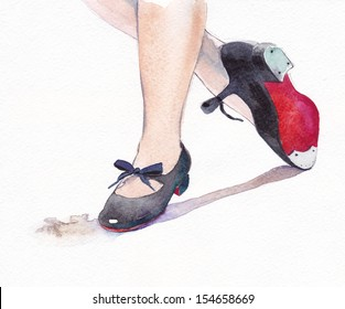 Tap dance shoes watercolor