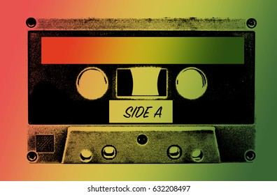 Tape cassette on green yellow red background,reggae background and free space for text