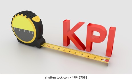 Tape placed next to the red word KPI measure performance concept 3D illustration on white