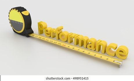 Tape placed next to the word performance measure performance concept 3D illustration on white