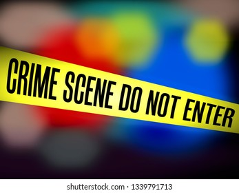 Tape Yellow Barrier Crime scene do not enter against blurry police background
