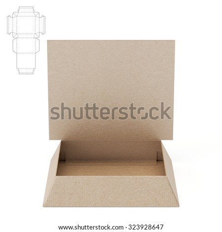 Tapered Tray Box With Counter Display Header And Die Cut Template