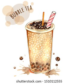 Tapioca drink. Hand-drawn watercolor Milk Bubble Tea with Tapioca Pearls. Food concept. Isolated on white background.