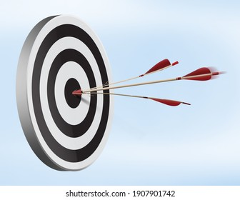 Target with arrow in the center 3D illustration