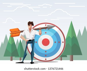 Target with arrow vector illustration banner.goal achievement.business teamwork marketing concept.flat cartoon character design for web mobile