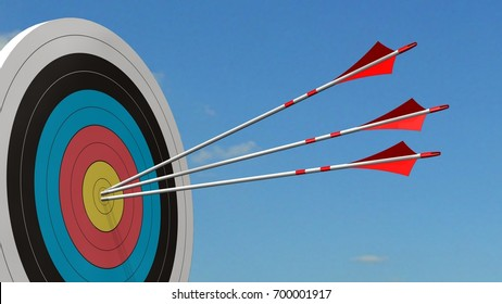 Target with arrows - Target with three bow arrows in the middle of the target - 3d render