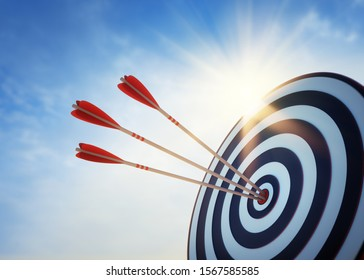 Target board with arrows at sunset - 3D illustration