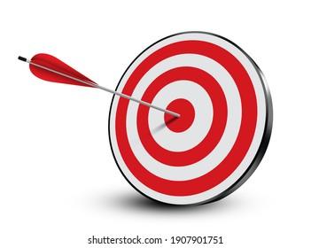 Ziel mit einem mittleren Pfeil auf weißem Hintergrund, 3D-Illustration