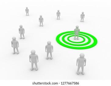 target communication concept.3d illustration