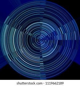 Target. Concentric round striped pattern. Toned blue graphic design featuring centered asymmetrical geometrical structure with several sectors or segments. Abstract circular background in dark shades.