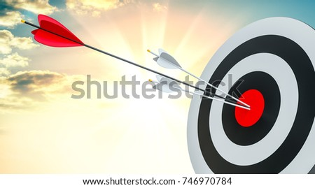Target hit in center by arrows. 3d illustration. Sunrise on background