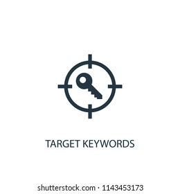 Target keywords creative icon. Simple element illustration. Target keywords concept symbol design from SEO collection. Can be used for web and mobile.