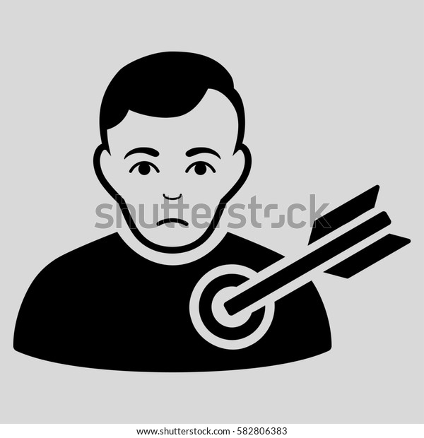 Target Man glyph icon. Flat black symbol. Pictogram is isolated on a light gray background. Designed for web and software interfaces.