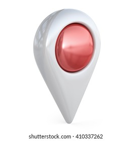 Target map pointer. GPS locate, 3D icon isolated