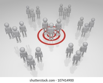 Target Market Bulls eye on a group of 3D rendered group of characters