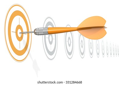 Target Marketing. Dart Arrow hitting center of Orange target. Horizontal row of gray targets.