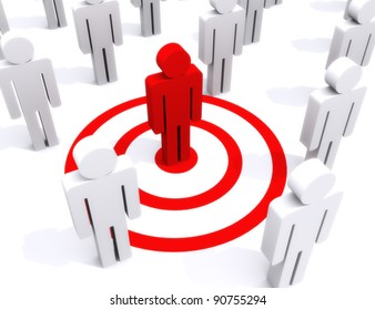 Target of perfection, standing out from the crowd, center of attention concept