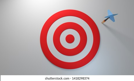 Target shot opportunity dartboard performance how accurate can it be win looser miss fail flunk throw loss failure score on white background competition archery isolated 3d illustration