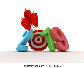 Target with text 2019. 3D illustration