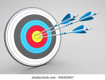 Target with three arrrows on the gray background. 3d illustration.