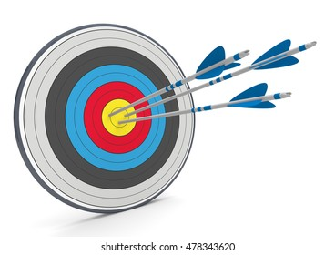 Target with three arrrows on the white background. 3d illustration.