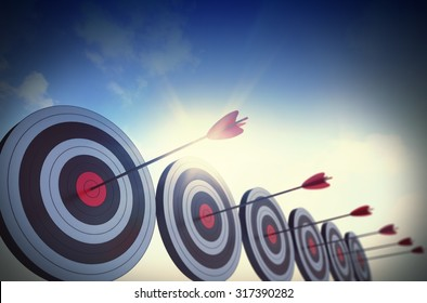 Targets hit in the center by arrows