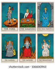 Tarot deck part 1 of 4, old style illustrations of cards 0 to 5.