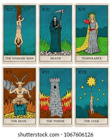 Tarot deck part 3 of 4, old style illustrations of cards 7 to 12.