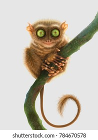Tarsier monkey (Tarsius Syrichta, Philippines) isolated on light grey background. Digital art.