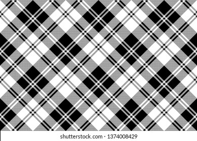 Tartan plaid pattern in black and white. Print fabric texture seamless. Check background.