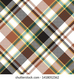 Tartan plaid pattern in brown. Print fabric texture seamless. Check background.