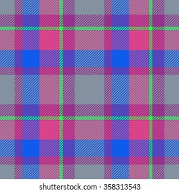 Tartan seamless pattern with grey, green, blue and red color