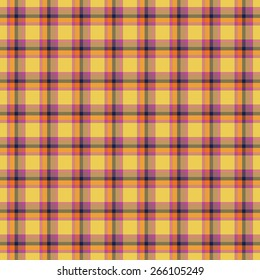 Tartan seamless pattern with yellow, ping, orange and blue color