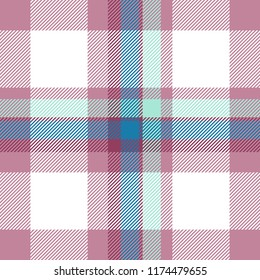Tartan seamless plaid pattern illustration in red, pink, blue and white combination for textile design. Trendy tiling illustration for wallpapers