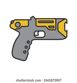 Taser color icon. Incapacitating gun. Electroshock weapon. Isolated raster illustration