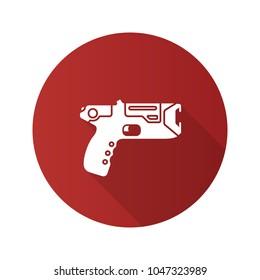 Taser flat design long shadow glyph icon. Incapacitating gun. Electroshock weapon. Raster silhouette illustration