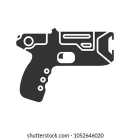 Taser glyph icon. Incapacitating gun. Electroshock weapon. Silhouette symbol. Negative space. Raster isolated illustration