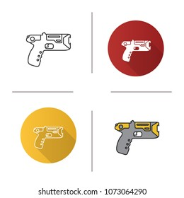 Taser icon. Flat design, linear and color styles. Incapacitating gun. Electroshock weapon. Isolated raster illustrations