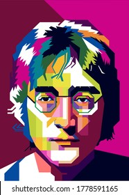 Tasikmalaya,Indonesia-July Friday 2020 : illustrated image of John Lennon in a pop art style