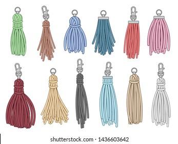 Tassels accessories. Leather fringe tassel trinket, handbag embelishments and fashion key chain. Leather tessels, textile zippers. Isolated  illustration symbols set