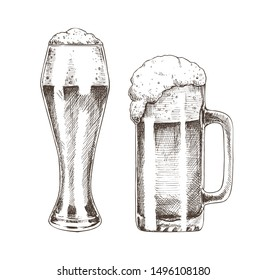 Tasty ale with foam poured into various goblets, isolated on white background raster illustration of graphic art, pair of glasses for beer drinking