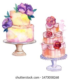 Tasty cake decorated with flowers. Watercolor background illustration set. Watercolour drawing fashion aquarelle isolated. Isolated cake illustration element.