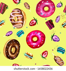 Tasty donuts and sweets yellow background