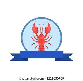 Tasty lobster logo with red crayfish raster isolated on white in circle with blue ribbon. Crawfish or crawdads, mudbugs or yabbies seafood in flat design