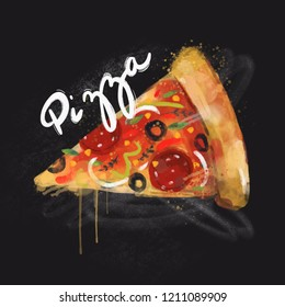 Tasty pizza slice. Hand drawn watercolor illustration. Black background