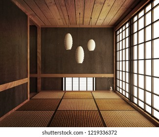 Tatami mats and paper sliding doors called Shoji room japanese zen style.3D rendering