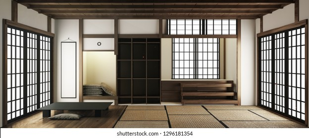 tatami mats and paper sliding doors called Shoji in Japanese room style. 3D rendering