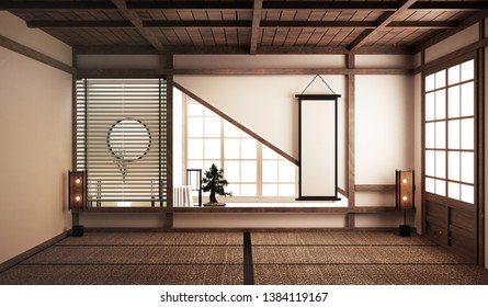 tatami mats and paper sliding doors and decoration japanese style. 3D rendering